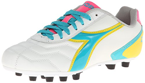 Diadora Women's Capitano LT MD PU W,White/Teal/Yellow/Pink,US 7 M