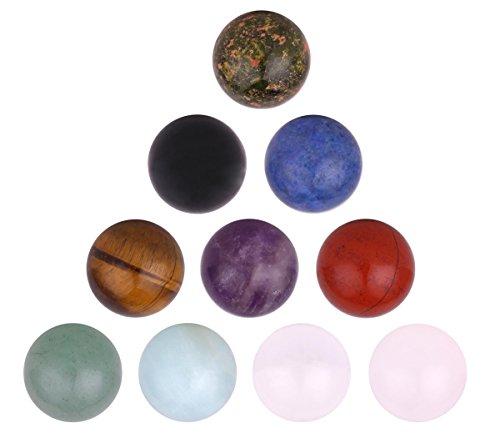 Morella Set 10 sfere a ciondolo 16 mm pietre preziose con sacchetto di velluto