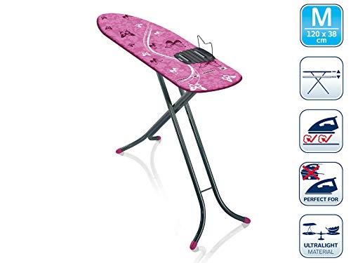 Leifheit Bügeltisch AirBoard M Shoulder Compact 60years Color Edition pink, ultraleichtes Bügelbrett mit Schulterpassform für Dampfbügeleisen, Dampfbügeltisch mit Zwei-Seiten-Bügeleffekt