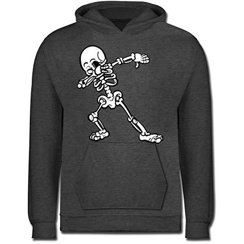 Shirtracer Halloween Kind - Dabbing Skelett - 128 (7/8 Jahre) - Anthrazit meliert - Kinder Hoodie Skelett - JH001K - Kinder Hoodie