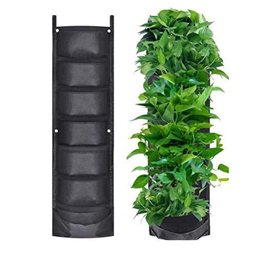 Bolsas para macetas Colgantes, 7 Bolsillos para Colgar en la Pared Plantador Vertical para Plantar Bolsas de Cultivo Jardinería de Interior al Aire Libre Contenedor de Flores para Frutas Vegetales