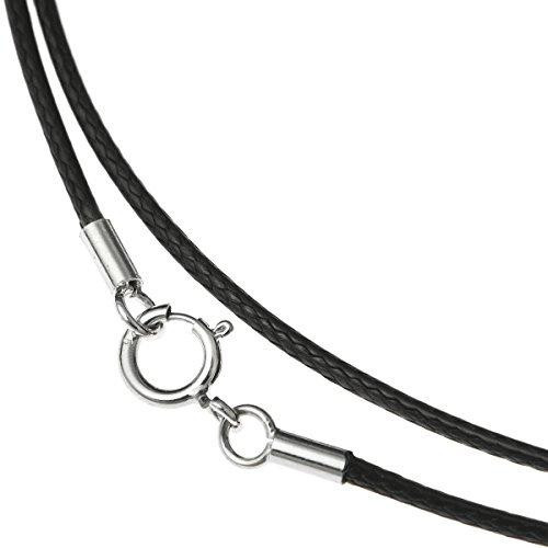 Gargantilla de plata de ley 925, diseño de rodio en color negro, 2 mm, encerada, algodón, 45,7 cm, con cierre de anillo de resorte