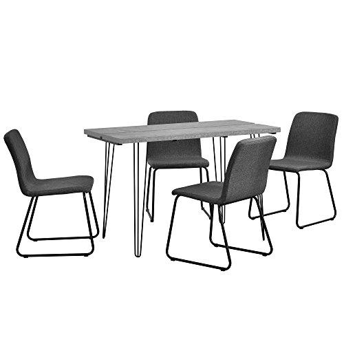 [en.casa] Essgruppe mit 4 Stühlen Esstisch 120x60x77 cm Beton-Optik mit 4er Stuhl-Set Dunkelgrau