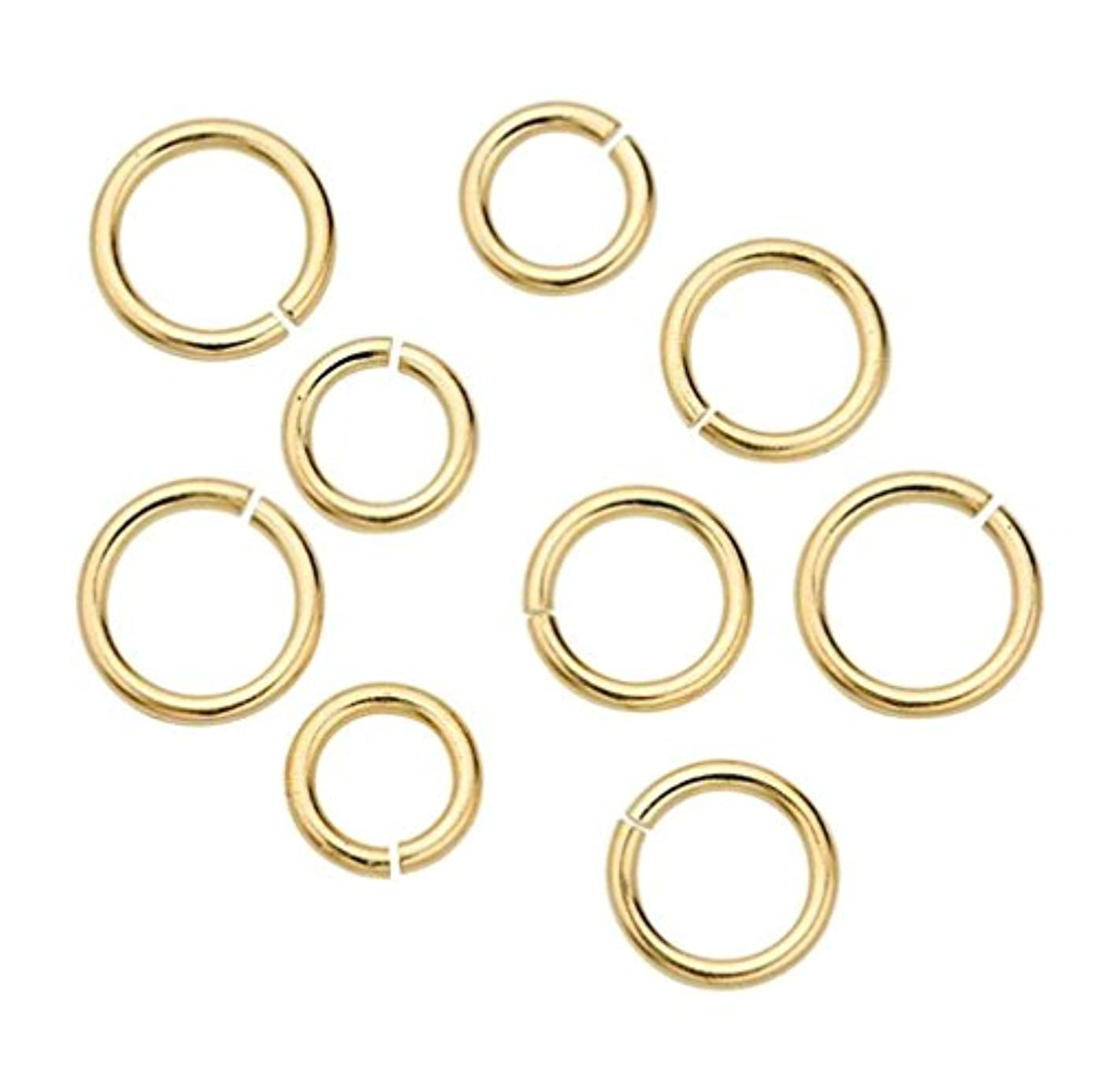 50pcs 14k Gold on Sterling Silver Open Jump Rings 6mm Connector (Wire ~22GA or 0.6mm) for Jewelry Craft Making SS289-6