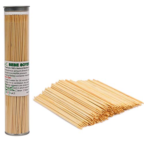 SEBE SOYER Premium BBQ Bamboo Skewers 10 inch Bamboo Sticks for Grilling,Marshmallow Roasting,Shish Kabob,Cocktail,Chocolate Fountain,Appetizer,Fruit,Corn and More.Best for Party Barbecue 200 Pcs.