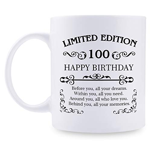 100th Birthday Gifts for Women Men - 11 oz Coffee Mug - 100 Year Old Present Ideas for Mom, Dad, Wife, Husband, Son, Daughter, Friend, Colleague, Coworker (100th Birthday Gift)