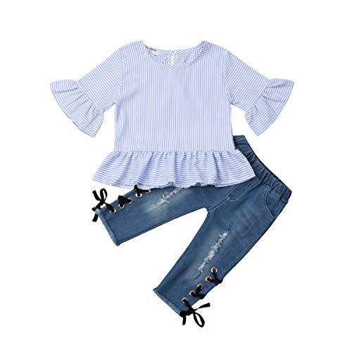 Geagodelia - Conjunto de ropa de 2 piezas, camiseta de manga corta con volantes + pantalón vaquero para niño a la parte inferior azul 12-18 Meses