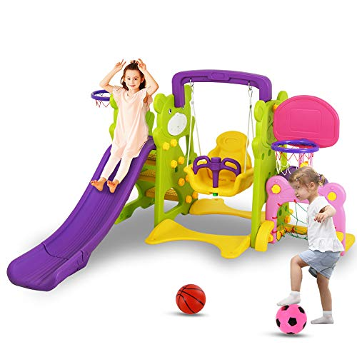 Uenjoy 4-in-1 Slide and Swing Set for Toddlers, Play Climber Freestanding Slides Playset for Kids , Indoor Outdoor Playground Toy with Basketball Hoop & Football Gate, Green