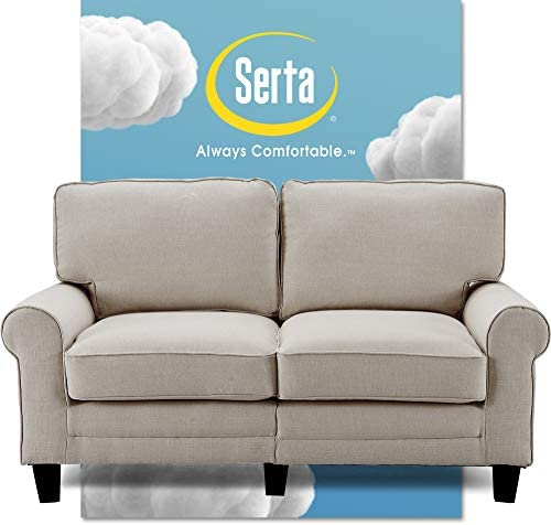 Best Serta Copenhagen Sofa Couch for Two People, Pillowed Back Cushions and Rounded Arms, Durable Modern