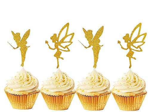 JeVenis 32pcs Gold Glitter Fairy Cupcake Toppers Angel Cake Topper Ballet Cupcake Topper for Birthday Bridal Shower Baby Shower Wedding Decoration Supplies