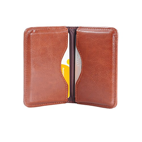 Business Card Holder, Wisdompro 2-Sided PU Leather Folio Name Card Holder Wallet Case with Magnetic Shut for Men and Women, Ultra Slim and Thin - Brown