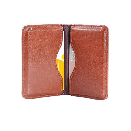 Wisdompro - Cartera de piel sintética con ranuras para tarjetas y cierre magnético, ultrafina, unisex, color marrón