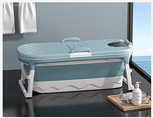 """54x24x20 inch Foldable Portable Bathtub for Adults, Luxury Extra Large Massage Bathtub with Drain, Plastic Bathtub Household with Cover, for People Under 78.7""""/2 M and Under 485 pounds/220KG"""