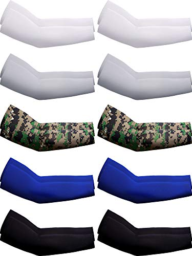 Boao 10 Pairs UV Protection Cooling Arm Sleeves Anti-Slip Ice Silk Arm Cover for Men (Color Set 1)