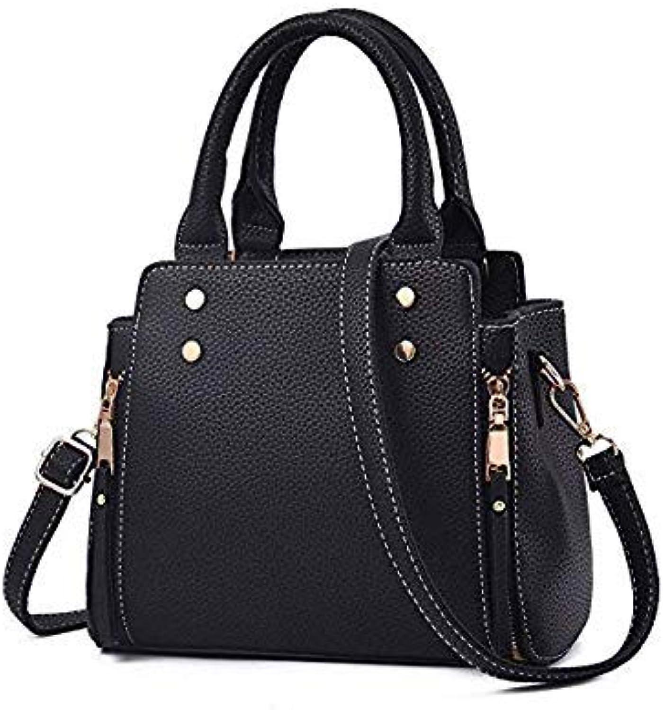 Bloomerang Mara's Dream New Fashion Women Handbag Patchwork High Quality PU Leather Totes Bags Brief Women Shoulder Bag Ladies Bags color A Black 28 x 13 x 24 cm