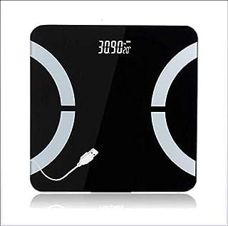 Shiwen usb recargable doméstica báscula electrónica de precisión adulto báscula de pesaje balanza electrónica balanza de cuerpo sano, Negro