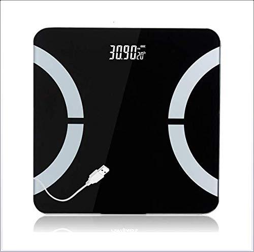 Gymy usb recargable doméstica báscula electrónica de precisión adulto báscula de pesaje balanza electrónica balanza de cuerpo sano, Negro