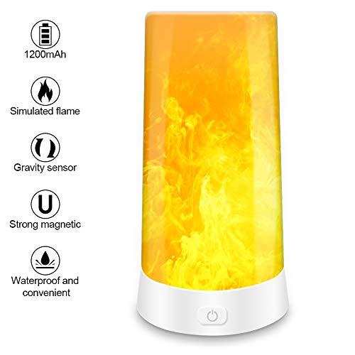 Zubita LED de Luz de Llama, Luces de Fuego Parpadeantes de 3 Modos con Sensor Magnético, Llama en Movimiento Recargable con Batería Recargable para Decoración de Fiesta Familiar / Hotel / Bar