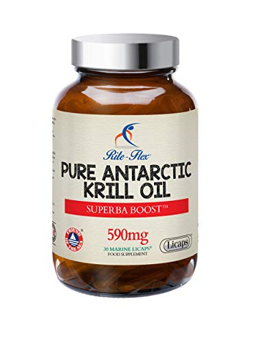Rite-Flex Pure Sustainable Antarctic Krill Oil – Superba Boost 590mg 30 Marine Licaps Supports Normal Heart Vision Brain & Liver Function - with Phospholipids Choline Asthaxantin - Made in France
