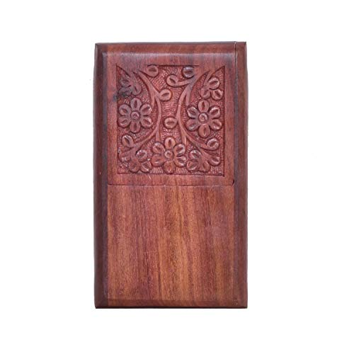 WILLART Handmade Wooden Pocket Cigarette Case Cigarette Holder Cigar Case Cigar Holder for Pocket Home Décor Office Travel Desk Organizer (Dimension : 3 x 1.2 x 5 Inches)