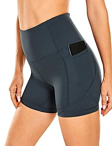 CRZ YOGA Donna Pantaloncini Sportivi A Vita Alta Controllo della Pancia Leggings Yoga Sensazione di Nudo Tasche Laterali Melanite 48