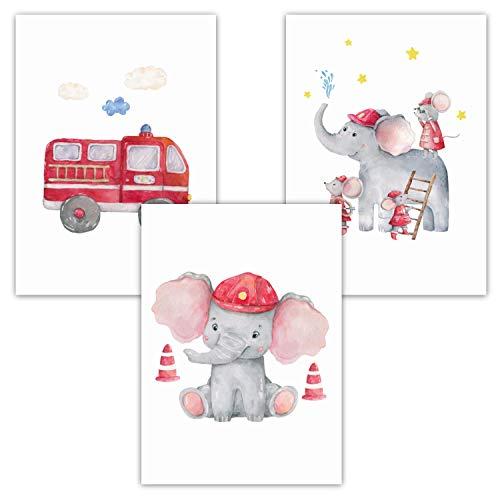 Pandawal Wandbilder Kinderzimmer/Babyzimmer Bilder für Junge und Mädchen Feuerwehr Elefant Tiere 3er Poster Set (P2) im DIN A3 Format