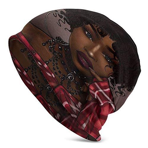 Unisex Adulto niña Negra con Grandes Pendientes y Ropa roja Gorro Casual Gorro de Invierno de Punto cálido Gorro de Calavera