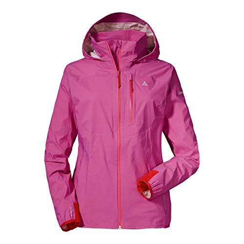 Schöffel Damen wind und wasserdichte Jacke mit Pack-Away-Tasche, fandango pink, 42