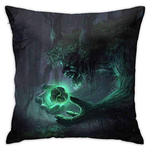 baoan Funda de almohada de fantasía, diseño de ogro del bosque gigante, funda de cojín decorativa cuadrada de 45 x 45 cm
