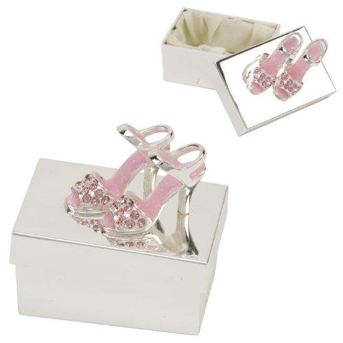 Die versilberte Schmuckdose mit pinkfarbenen High Heels Sandaletten mit Fesselriemchen!
