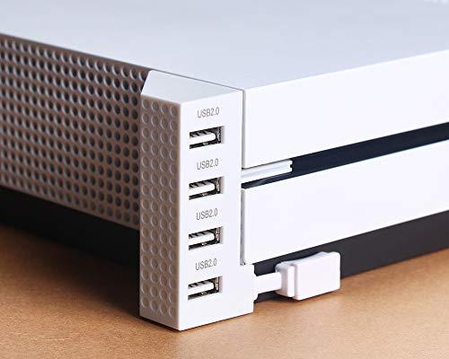 PeakLead Xbox One S USB Hub erweiterung 2.0 Weiß 4-Port USB Verlängerung Extender ladegeraet Adapter Ladestation mit LED-Anzeige für Xbox One Slim
