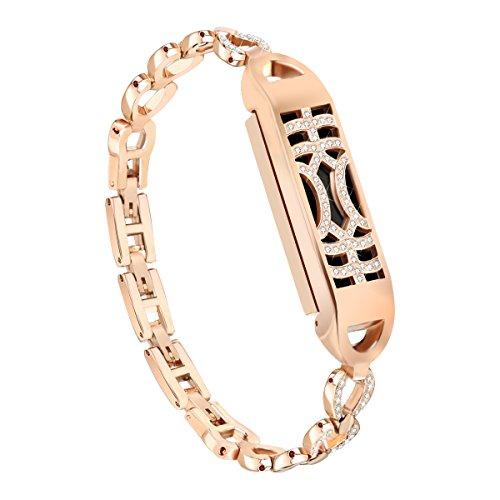 NAHAI Compatible Fitbit Flex 2 Bands Bracelet, Adjustable Replacement Metal Bangle Newest Unique Magnetic Adsorption Switch Design Wristband with Diamond for Fitbit Flex 2