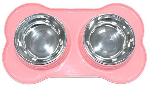 SHINE Alimentazione Pet Doppia Confezione in Acciaio Inossidabile con Doppio Alimentatore in Pet di PLASTICA Cane/Gatto/Qualsiasi Piccolo Piatto Animale per Alimenti/Acqua (Rosa)