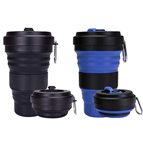 Trgowaul Collapsible Travel Cup - Silicone Folding Camping Cup Sport Bottle with Lids - Expandable Scald-Proof Drinking...