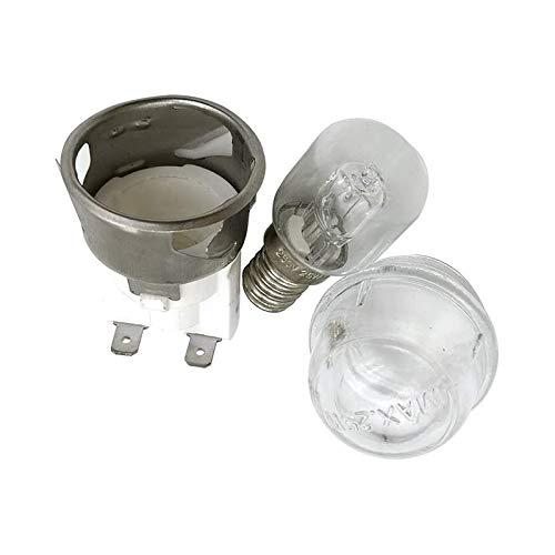 Tashido 2 juegos E14 Resistencia a altas temperaturas 300 Celsius 250 V 25 W Lámpara de horno, portalámparas de horno, lámpara de horno con iluminación de cerámica