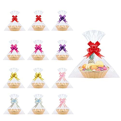 Set di 12 cesti regalo in plastica con 12 piccoli cestini ovali vuoti, 30 sacchetti trasparenti con 60 fiocchi per regali, confezioni regalo, Natale, matrimonio, compleanno (marrone A)