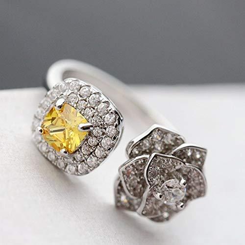 THTHT Vintage 925 Zilver Ring Jade Vrouw Opening Citrien Rose Strass Mode Elegante Creatieve Klassieke Elegante Etnische karakteristieken