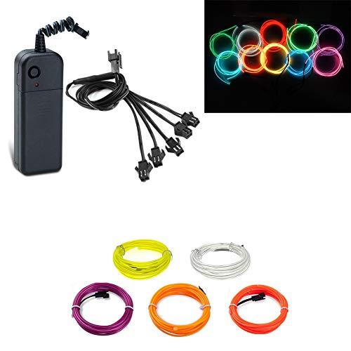 Cables EL de 5x1meter Luces de neón multicolores Cuerda de tubo Luz...