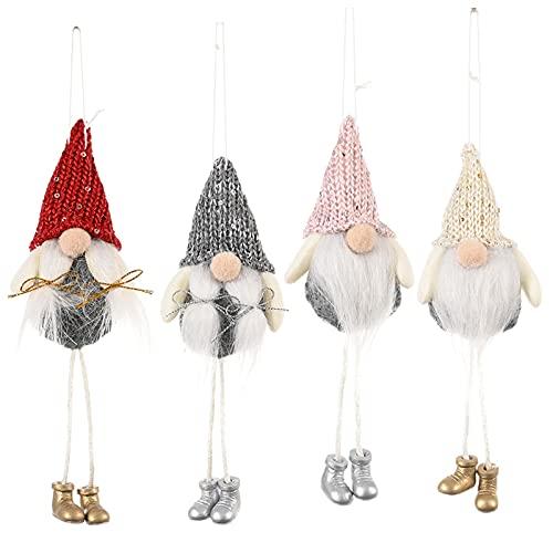Gnomo de navidad,Adornos navideños colgantes,mini colgante gnomo sueco Adorable decoración del árbol Navidad,adornos felpa Santa Elf para decoración del hogar la chimenea del árbol 4 piezas