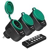 DEWENWILS Funksteckdose Aussen, Steckdosen mit Fernbedienung für Feiertagsdeko, IP44, Funksteckdosenset mit 3er Funksteckdosen und 1 Fernbedienung, 3680W, 30 M Reichweite, CE und TÜV zertifiziert