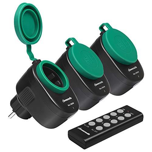 DEWENWILS Funksteckdose Aussen, Steckdosen mit Fernbedienung für Weihnachtsdeko, IP44, Funksteckdosenset mit 3er Funksteckdosen und 1 Fernbedienung, 3680W, 30 M Reichweite, CE und TÜV zertifiziert