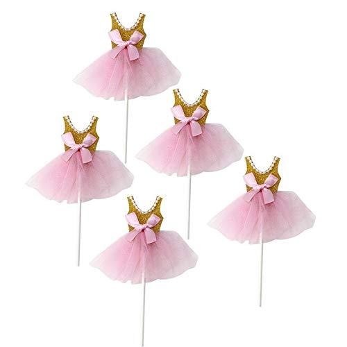 NSGJUYT 5 pcs Girls Birthday Cupcake Topper Decor Glitter Princess Tutus Dress Cake Toppers Ballerina Skirt Picks Party Supply