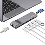 dodocool USB C Hub, Aluminium USB C Adapter mit Gigabit Ethernet, 4K HDMI,100W PD, 2 USB 3.0, USB 2.0, SD/TF Kartenleser, Thunderbolt 3 Hub für MacBook Pro 2019/2018/2017/2016, MacBook Air 2019/2018
