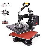 Z ZELUS Heat Press Machine 30 X 22 cm 5 in 1 Multifunctional Heat Press 360 Degree Swivel Heat Press Machine for T Shirt Mug Hat Cap Plate Transfer Printer (30 X 22 cm 5 in 1)