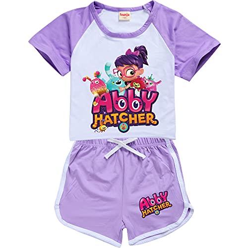 ab-by hat-cher - Conjunto de pijama de manga corta para niños, de algodón, 2 piezas