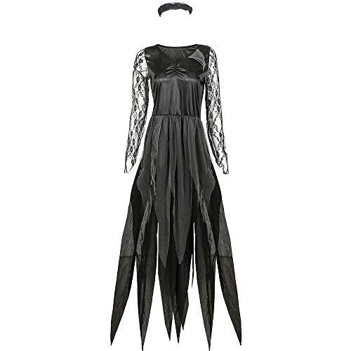 Gogogo Halloween Damen Kostüm Friedhof Zombie Braut Abendkleid schwarz Party Cosplay Verkleiden XL