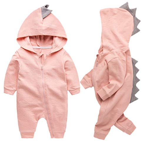 Newborn Baby Boys Girls Cartoon Dinosaur Hoodie Romper Onesies Jumpsuit Outfits Size 6-9Months/73 (Pink)
