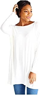 Women's Famous Long Sleeve Bamboo Top Loose Fit Dolman Style,Medium,White