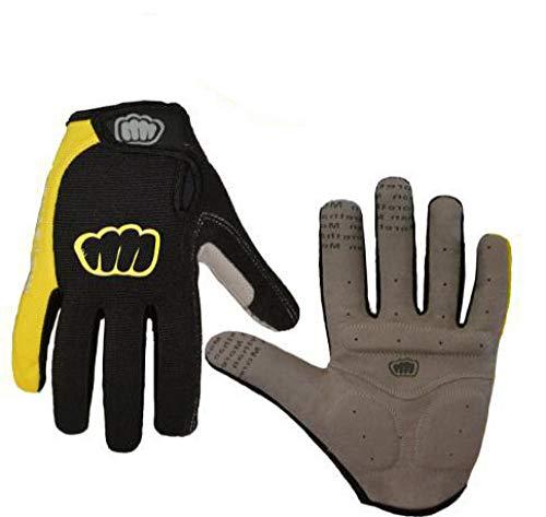 Guantes deportivos unisex al aire libre cálidos,Guantes para bicicleta de montaña,guantes para pantalla táctil al aire libre con dedos completos-Yellow_XL,Guantes elásticos cálidos a prueba de viento