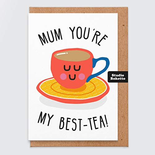 Mothers Day Card - Mothers Day Card Funny - Mum You are My Best-Tea - Tea - Cup of Tea - Mum Birthday Cards Funny - Mothers Day Card Funny - Mum Pun Card - for Her - Funny Birthday Card Mum